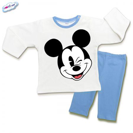 Детска пижамка в синьо и бяло Мики