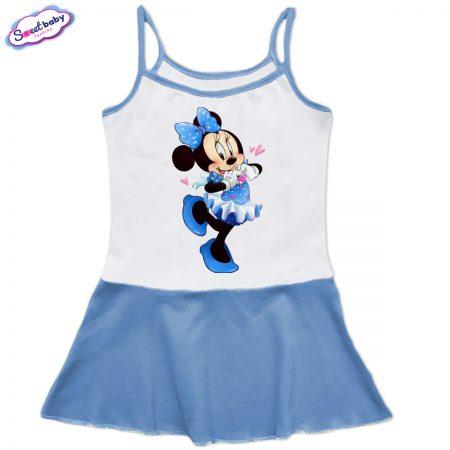 Детска рокличка с тънки презрамки Мини Маус със синя панделка