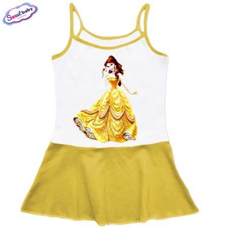 Детска рокличка с тънки презрамки в жълто Бел
