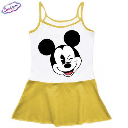 Детска рокличка с тънки презрамки в жълто Мики