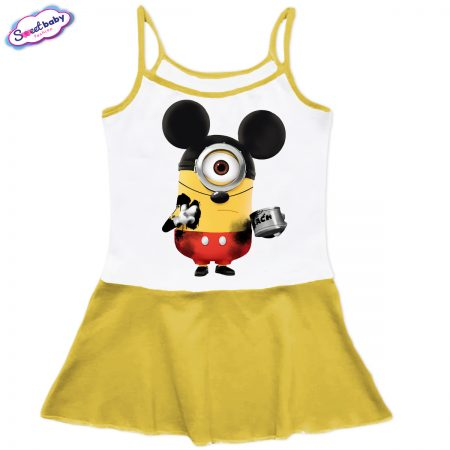 Детска рокличка с тънки презрамки в жълто Миньон Мики Маус