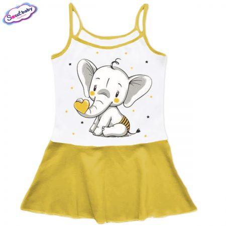 Детска рокличка с тънки презрамки в жълто Слонче със сърце