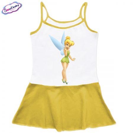Детска рокличка с тънки презрамки в жълто Феичка