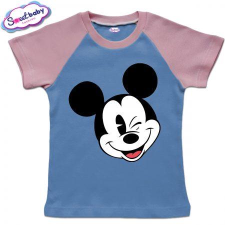 Детска тениска в синьо и розово Мики