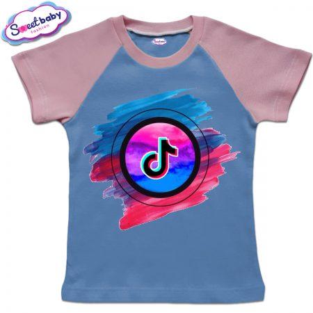 Детска тениска в синьо и розово TikTook