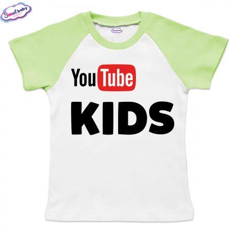 Детска тениска в бяло и зелено Youtube-kids