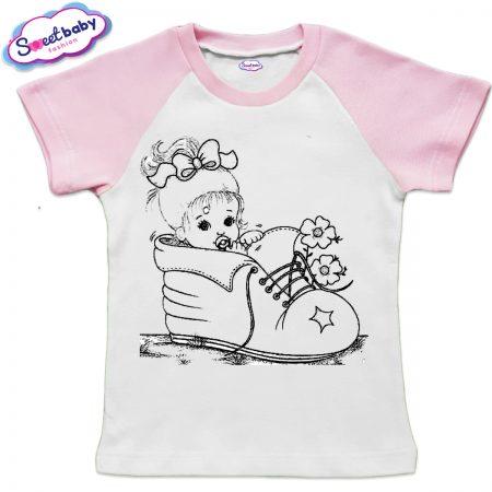 Детска тениска в бяло и розово Бебе в обувка
