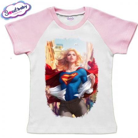 Детска тениска в бяло и розово Supergirl
