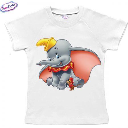 Детска тениска в бяло с реглан ръкав Дъмбо