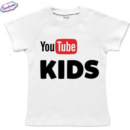 Детска тениска в бяло с реглан ръкав Youtube-kids