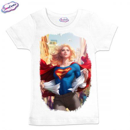 Детска тениска в бяло Supergirl