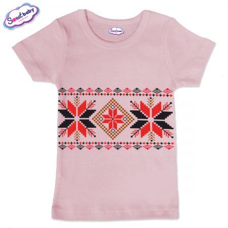 Детска тениска в розово Шевица