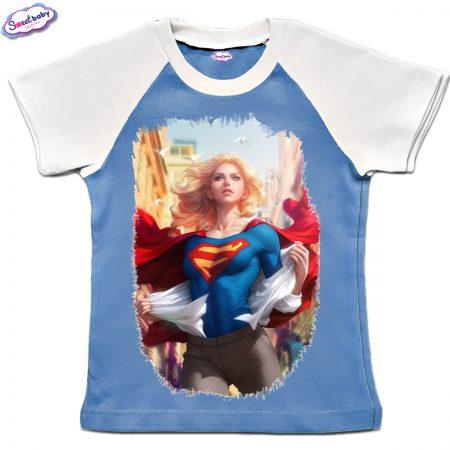 Детска тениска в синьо и бяло Supergirl