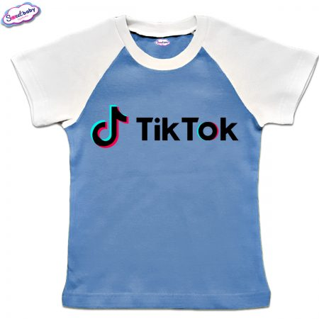 Детска тениска в синьо и бяло TikTok