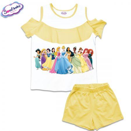 Детски сет от блузка и панталонки в бяло и жълто Дисни принцеси