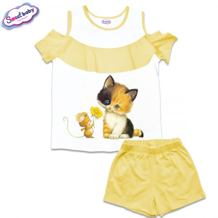 Детски сет от блузка и панталонки в бяло и жълто Коте с мишле