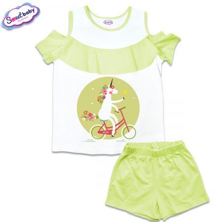 Детски сет от блузка и панталонки в бяло и зелено Еднорог на колело