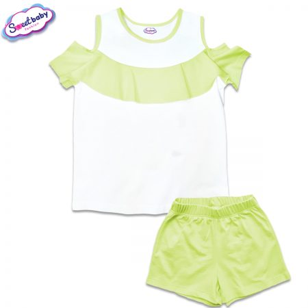 Детски сет от блузка и панталонки в бяло и зелено