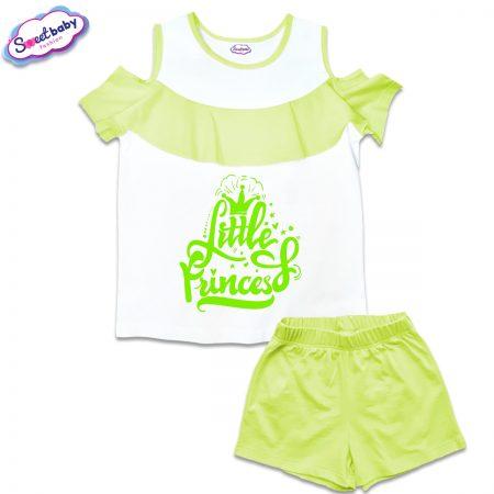Детски сет от блузка и панталонки в бяло и зелено Little princes