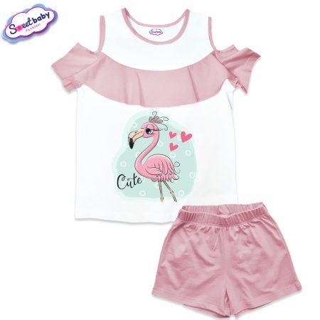 Детски сет от блузка и панталонки в бяло и розово Cute