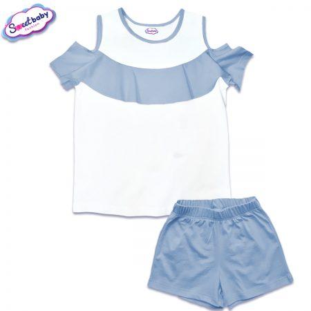 Детски сет от блузка и панталонки в бяло и синьо