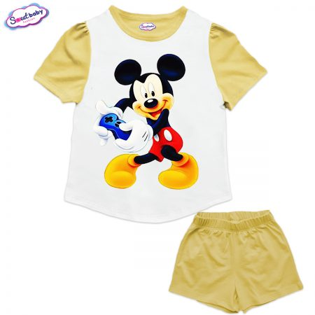 Детски сет от туника и панталонки в жълто и бяло Мики геймър