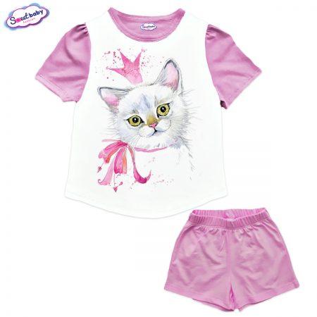 Детски сет от туника и панталонки в розово и бяло Кралица Котка