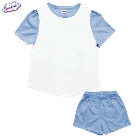 Детски сет от туника и панталонки в синьо и бяло