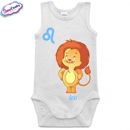 Бебешко боди потник в бяло зодия Лъв