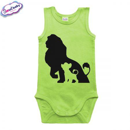 Бебешко боди потник в зелен цвят Цар Лъв и Симба