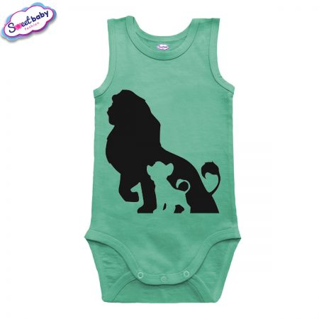 Бебешко боди потник в мента Цар Лъв и Симба