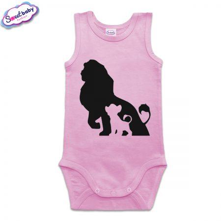 Бебешко боди потник в розово Цар Лъв и Симба