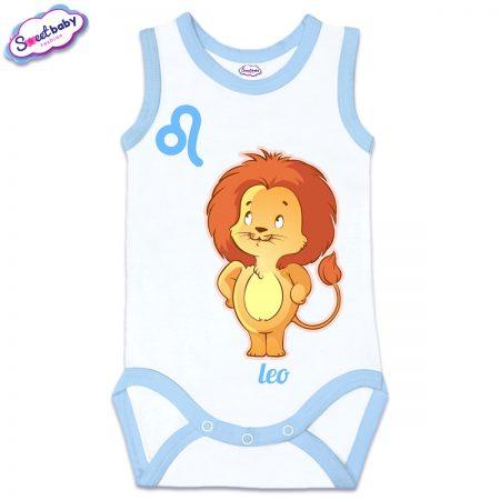Бебешко боди потник със син кант зодия Лъв