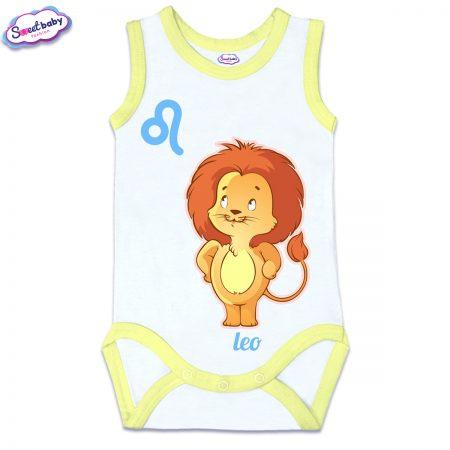 Бебешко боди потник с жълт кант зодия Лъв