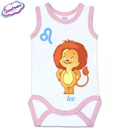 Бебешко боди потник с розов кант зодия Лъв