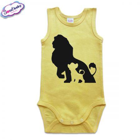 Бебешко боди тип потник в жълто Цар Лъв и Симба