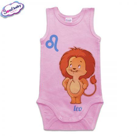 Бебешко боди тип потник в розово зодия Лъв
