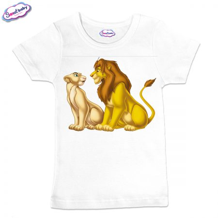 Детска тениска в бяло Симба и Нала
