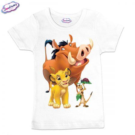 Детска тениска в бяло Хакуна матата