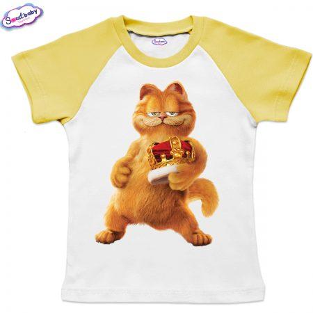 Детска тениска в бяло и жълто Гарфилд с корона