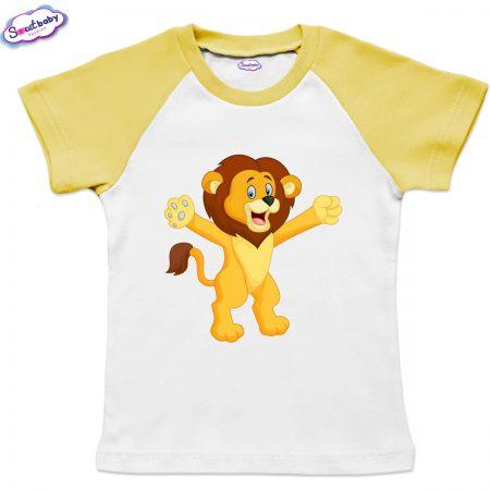 Детска тениска в бяло и жълто Лъвче