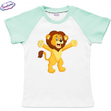 Детска тениска в бяло и мента Лъвче