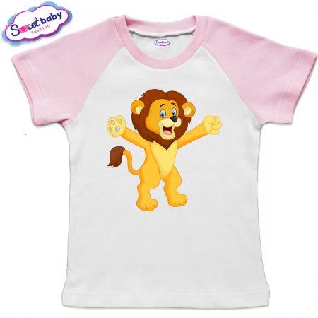 Детска тениска в бяло и розово Лъвче