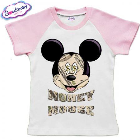 Детска тениска в бяло и розово MoneyMouse