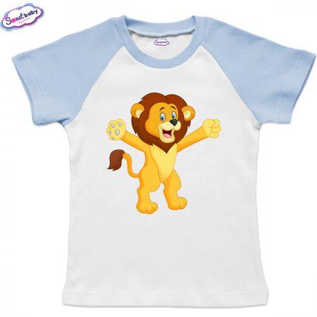 Детска тениска в бяло и синьо Лъвче