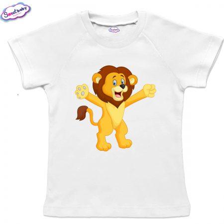 Детска тениска в бяло с реглан ръкав Лъвче
