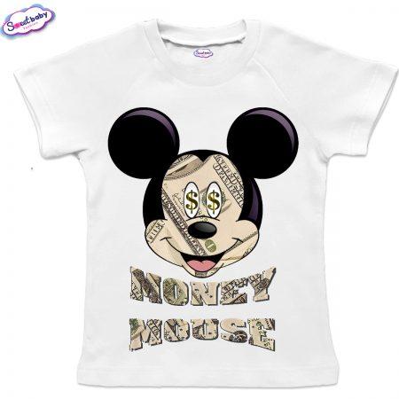 Детска тениска в бяло MoneyMouse