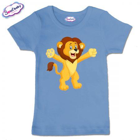 Детска тениска в син цвят Лъвче