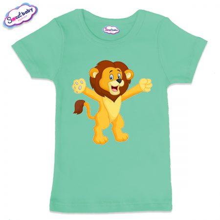 Детска тениска в цвят мента Лъвче