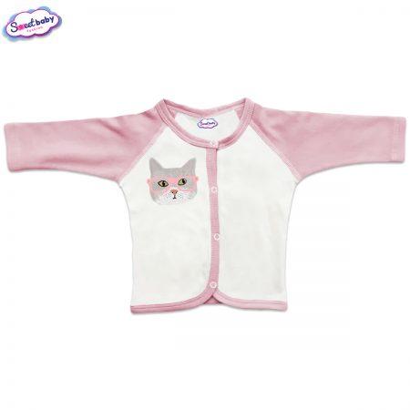 Бебешка жилетка с предно закопчаване Котка с розови очила